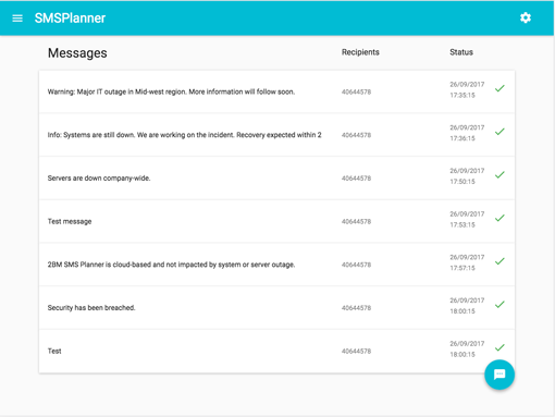 SMS Planner - webservice integration by 2BM